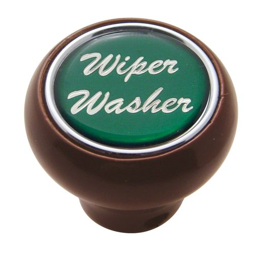 "(CARD) WOOD DELUXE DASH KNOB W/ GLOSSY ""WIPER/WASHER"" STICKER - GREEN"