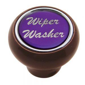 "(CARD) WOOD DELUXE DASH KNOB W/ GLOSSY ""WIPER/WASHER"" STICKER - PURPLE"