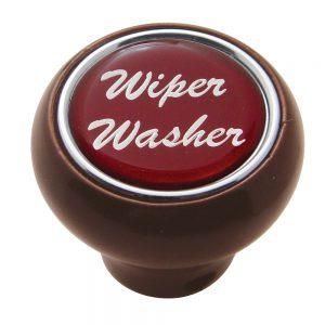 "(CARD) WOOD DELUXE DASH KNOB W/ GLOSSY ""WIPER/WASHER"" STICKER - RED"