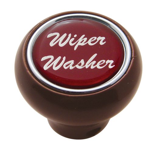 "(CARD) WOOD DELUXE DASH KNOB W/ GLOSSY ""WIPER/WASHER"" STICKER - RED"