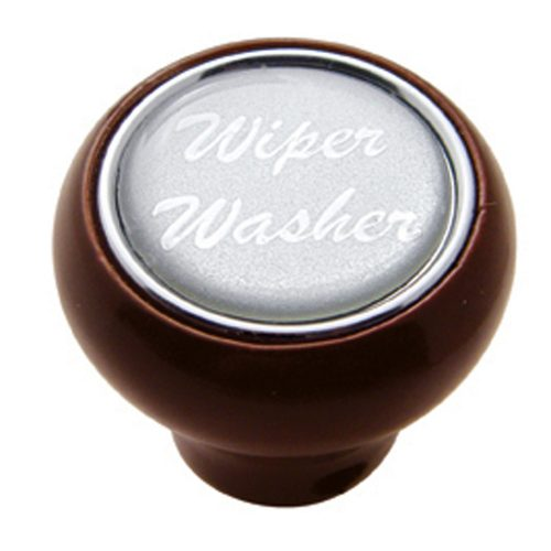 "(CARD) WOOD DELUXE DASH KNOB W/ GLOSSY ""WIPER/WASHER"" STICKER - SILVER"