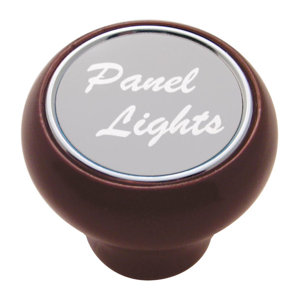 "(CARD) WOOD DELUXE DASH KNOB W/ ALUMINUM ""PANEL LIGHTS"" STICKER - SILVER"
