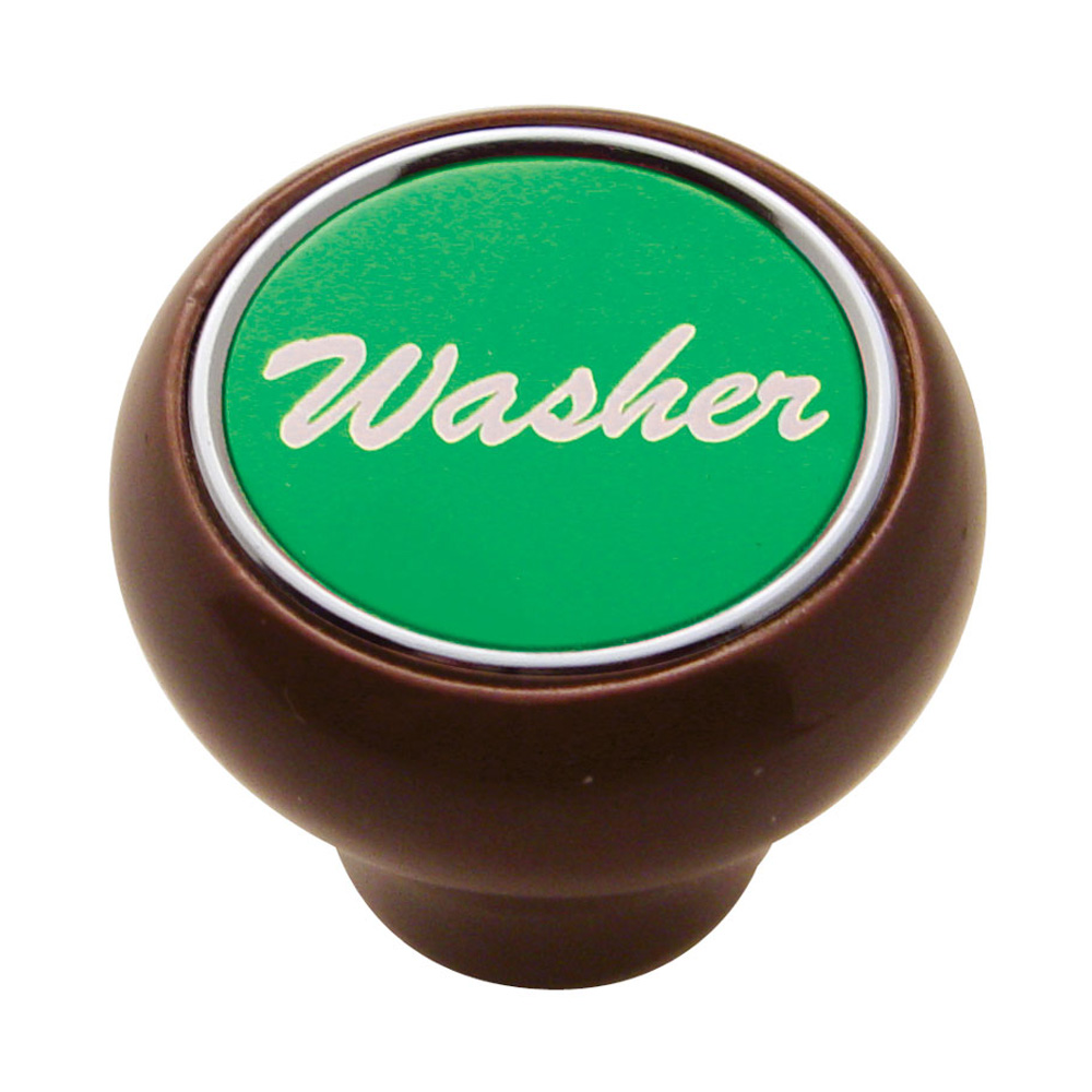 "(CARD) WOOD DELUXE DASH KNOB W/ ALUMINUM ""WASHER"" STICKER - GREEN"