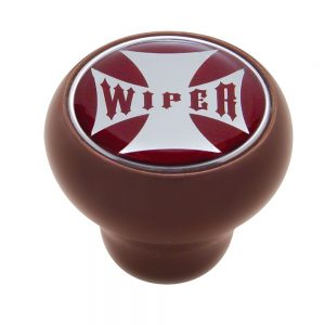 "(CARD) WOOD DELUXE KNOB W/ GLOSSY ""WIPER"" MALTESE CROSS STICKER - RED"