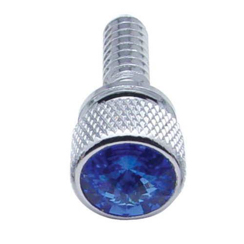 (14/CARD) CHROME PETERBILT DASH SCREWS W/ DIAMOND - BLUE