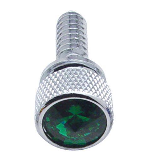 (14/CARD) CHROME PETERBILT DASH SCREWS W/ DIAMOND - GREEN