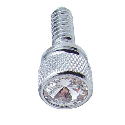 (14/CARD) CHROME PETERBILT DASH SCREWS W/ DIAMOND - CLEAR
