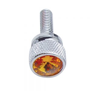 (12/CARD) CHROME KENWORTH DASH SHORT SCREWS W/ DIAMOND - AMBER
