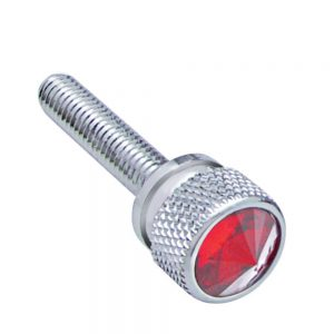 (12/CARD) CHROME KENWORTH DASH LONG SCREWS W/ DIAMOND - RED
