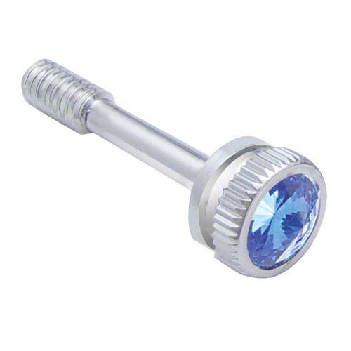 (5 /CARD) CHROME PETERBILT 357 DASH SCREW W/ DIAMOND - BLUE