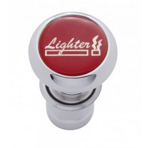 "(CARD) CHROME ALUMINUM DELUXE CIGARETTE LIGHTER W/ GLOSSY ""LIGHTER"" STICKER - RED"