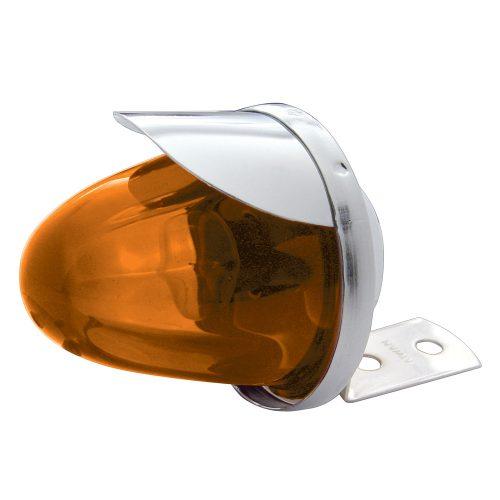 (CARD) CHROME HOUSING MEDIUM GLASS MARKER LIGHT W/VISOR - AMBER
