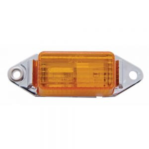 *(BULK) SNAP SEAL RECTANGULAR CLEARANCE/MARKER LIGHT W/ CHROME BASE - AMBER