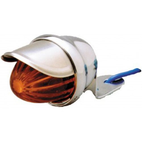 (BULK) CHROME MINI AUXILIARY INCANDESCENT LIGHT W/ STAINLESS STEEL VISOR - AMBER