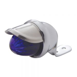 (BULK) CHROME MINI AUXILIARY INCANDESCENT LIGHT W/ STAINLESS STEEL VISOR - BLUE