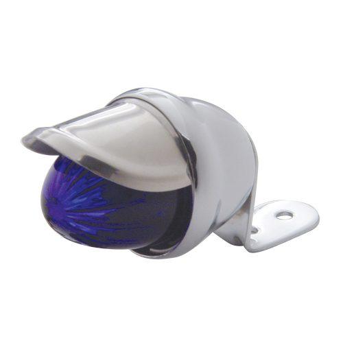 (BULK) CHROME MINI AUXILIARY INCANDESCENT LIGHT W/ STAINLESS STEEL VISOR - BLUE