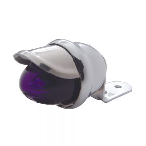(CARD) CHROME HOUSING W/ MINI AUXILIARY INCANDESCENT LIGHT W/ STAINLESS STEEL VISOR - PURPLE