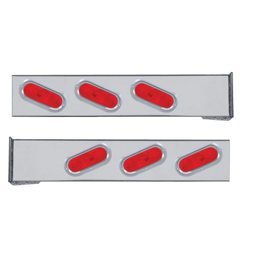 (2/BULK) CHROME 2 PCS. REAR LIGHT BAR W/ 6 SLANTED OVAL RED INCANDESCENT LIGHT W/ VISOR - 4 HOLE FLANGE MOUNT