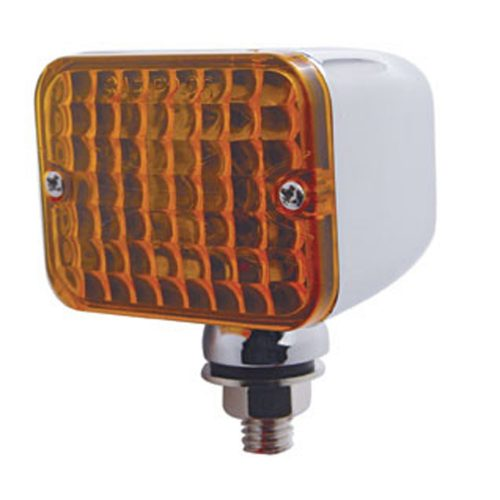 (BULK) CHROME MEDIUM RECTANGULAR AUXILIARY INCANDESCENT LIGHT - AMBER