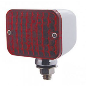 (BULK) CHROME MEDIUM RECTANGULAR AUXILIARY INCANDESCENT LIGHT - RED