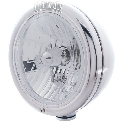 "(BOX) STAINLESS STEEL ""CLASSIC"" PETERBILT CRYSTAL H4 HALOGEN HEADLIGHT W/ INCANDESCENT SIGNAL LIGHT - CLEAR"