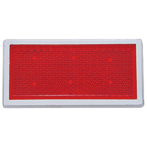 "(BULK) 3 1/2"" x 1 2/3"" RECTANGULAR QUICK MOUNT REFLECTOR W/ CHROME BEZEL - RED"