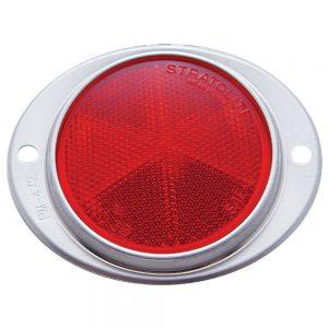 "(BULK) 3 3/16"" ROUND REFLECTOR W/ ALUMINUM MOUNTING BASE - RED"