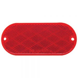 """(BULK) 4 5/16"""" x 1 7/8"""" OVAL QUICK MOUNT REFLECTOR - RED"""