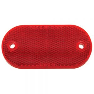 """(BULK) 4"""" x 2"""" OVAL QUICK MOUNT REFLECTOR - RED"""