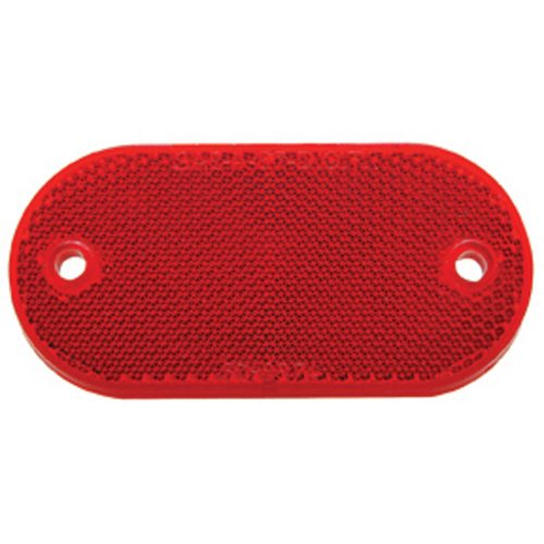 "(BULK) 4"" x 2"" OVAL QUICK MOUNT REFLECTOR - RED"