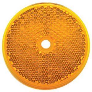 """(BULK) 3 3/16"""" ROUND CENTER BOLT MOUNT REFLECTOR - AMBER"""