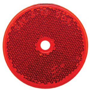 "(BULK) 3 3/16"" ROUND CENTER BOLT MOUNT REFLECTOR - RED"