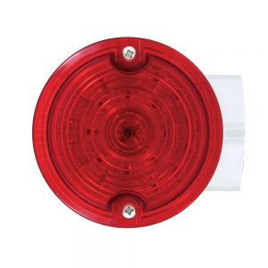 (BOX) 21 RED LED 3 1/4 ROUND HARLEY SIGNAL LIGHT WITH HOUSING - RED LENS - 1156 PLUG