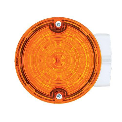(BOX) 21 AMBER LED 3 1/4 ROUND HARLEY SIGNAL LIGHT WITH HOUSING - AMBER LENS - 1157 PLUG