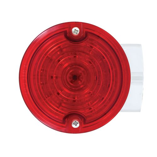(BOX) 21 RED LED 3 1/4 ROUND HARLEY SIGNAL LIGHT WITH HOUSING - RED LENS - 1157 PLUG