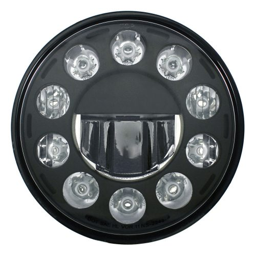 "(BOX) 11 HIGH POWER LED 7"" CRYSTAL HEADLIGHT - BLACKOUT"
