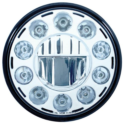 "(BOX) 11 HIGH POWER LED 7"" CRYSTAL HEADLIGHT - CHROME"