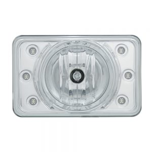 (BOX) 165mm CRYSTAL PROJECTION RECTANGULAR HEADLIGHT BULB WITH 6 WHITE LED - HIGH BEAM ONLY