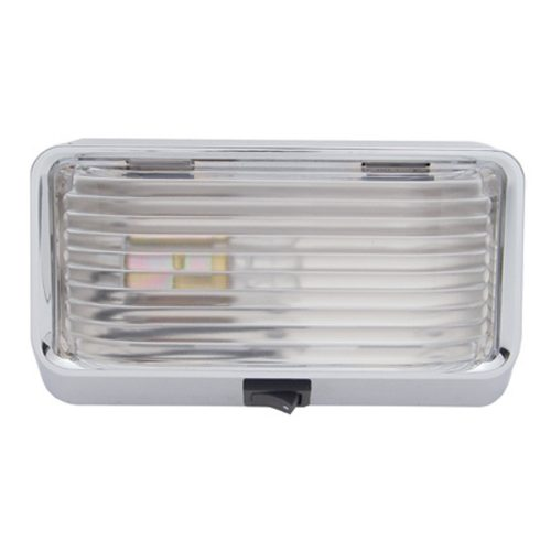 (BULK) 12 VOLT RECTANGULAR DOME LIGHT W/ 1156 BULB - CLEAR LENS