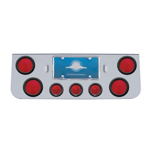 "(BULK) CHROME REAR CENTER LIGHT PANEL W/ FOUR 4"" & THREE 2 1/2"" ROUND LIGHT - RED LENS"