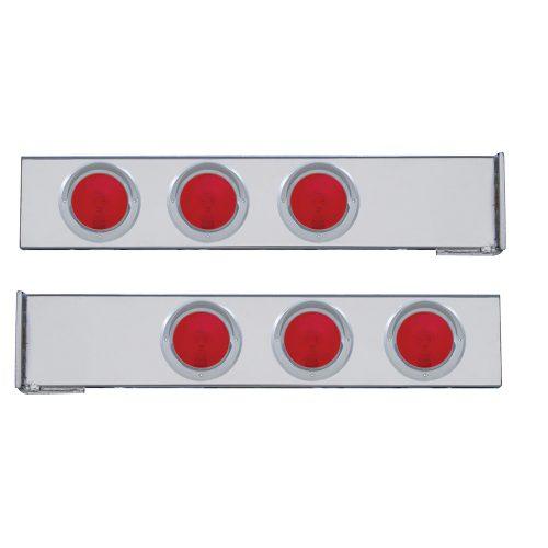 "(2/BULK) CHROME 2 PCS. REAR LIGHT BAR W/ SIX 4"" RED INCANDESCENT LIGHT W/ VISOR - 4 HOLE FLANGE MOUNT"