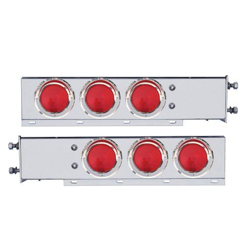 "(2/BULK) CR. SPRING LOADED REAR LIGHT BAR W/ 6 INCANDESCENT 4"" RED ROUND LIGHT W/ VISOR - 3 3/4"" RED BOLT PATTERN"
