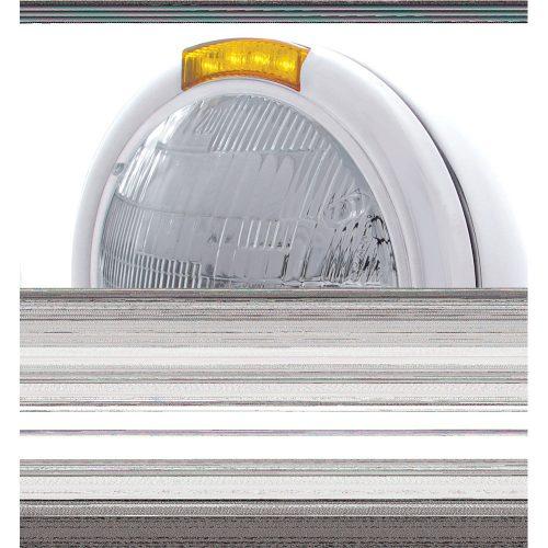 "(BOX) STAINLESS STEEL ""CLASSIC"" PETERBILT 6014 SEALED BEAM HEADLIGHT W/ 4 AMBER LED SIGNAL LIGHT - AMBER LENS"