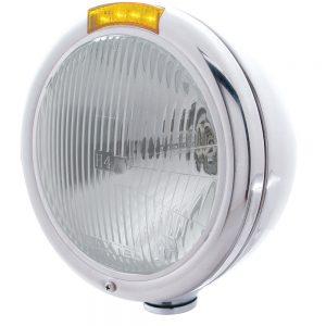 "(BOX) STAINLESS STEEL ""CLASSIC"" PETERBILT H4 HALOGEN HEADLIGHT W/ 4 AMBER LED SIGNAL LIGHT - AMBER LENS"
