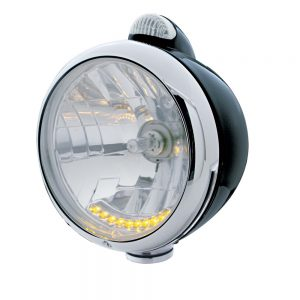 """(BOX) BLACK """"GUIDE"""" HEADLIGHT W/ AMBER/CLEAR SINGLE FUNCTION TOP MOUNT LIGHT - 10 AMBER LED CRYSTAL HALOGEN"""