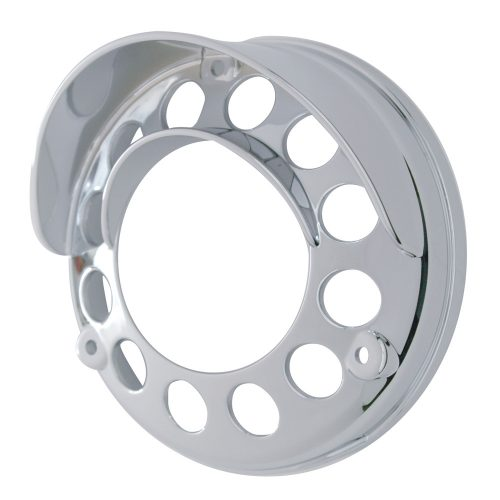 (CARD) CHROME PLASTIC LED ROUND REFLECTOR DOUBLE FACE LIGHT BEZEL W/ VISOR - 39438 SERIES