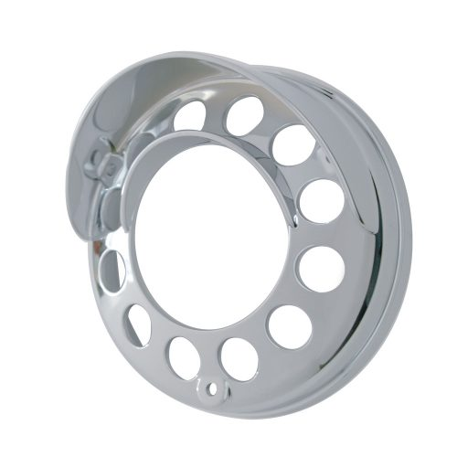 (CARD) CHROME PLASTIC LED ROUND REFLECTOR DOUBLE FACE LIGHT BEZEL W/ UP-SIDE DOWN VISOR - 39438 SERIES