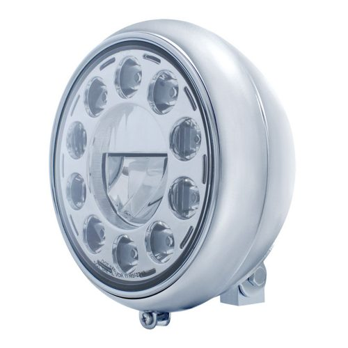 "(BULK) LED 7"" MOTORCYCLE HEADLIGHT WITH 11 HIGH POWER LED CRYSTAL BULB"