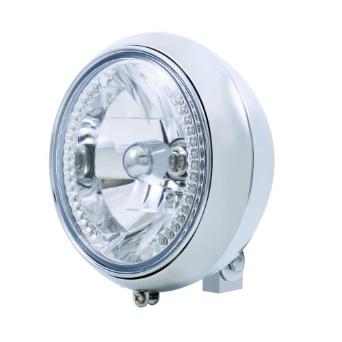 "(BULK) CHROME 7"" MOTORCYCLE HEADLIGHT WITH 34 WHITE AUXILIARY LED CRYSTAL BULB"
