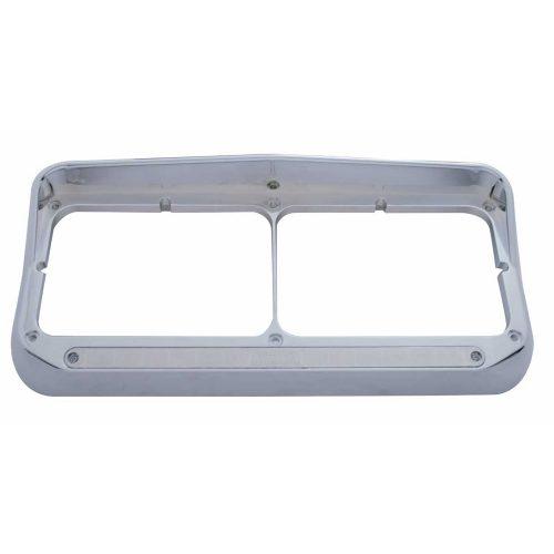 (CARD) CHROME PLASTIC 14 AMBER LED RECTANGULAR HEADLIGHT BEZEL W/ VISOR - CHROME LENS